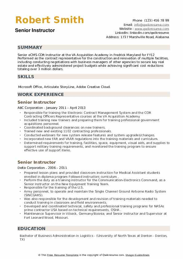 Senior Instructor Resume example