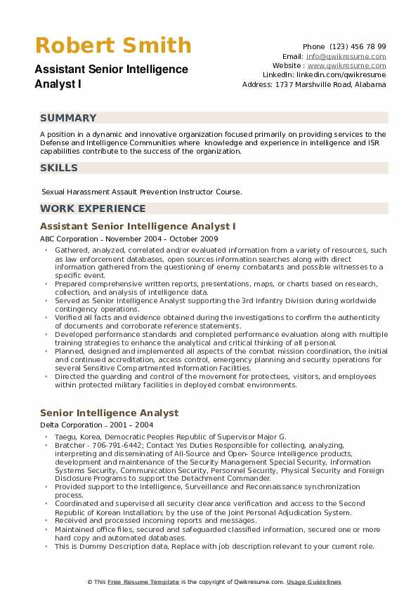 Senior Intelligence Analyst Resume example