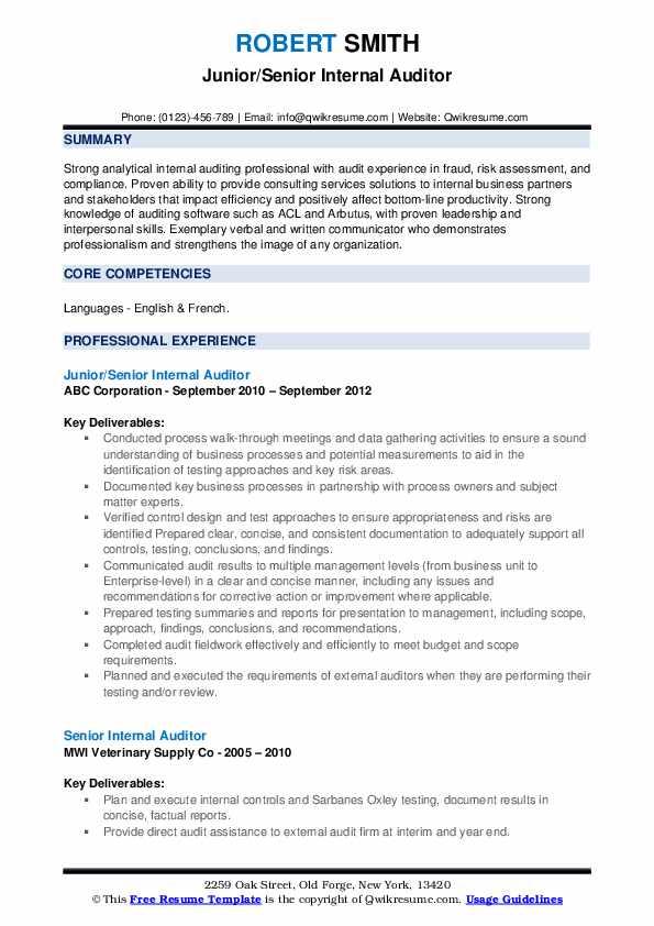 Junior/Senior Internal Auditor Resume Format