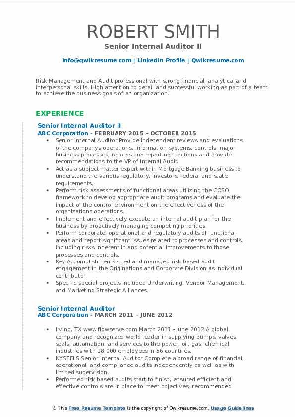 Senior Internal Auditor II Resume Model