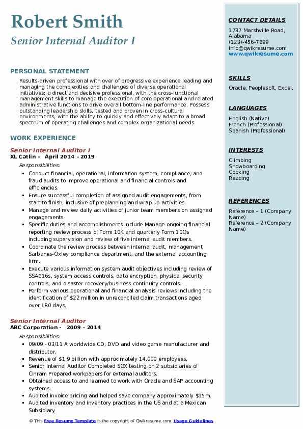 Senior Internal Auditor I Resume Example