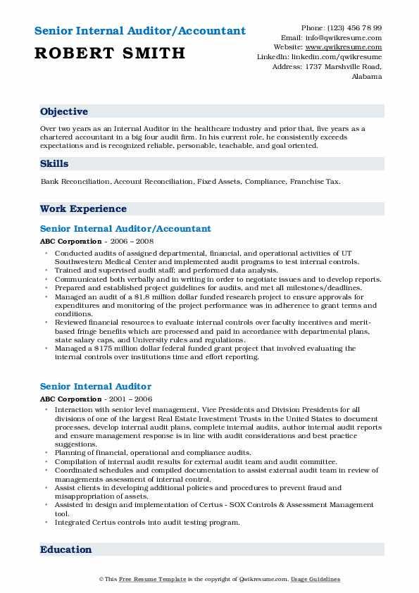 Senior Internal Auditor/Accountant Resume Model