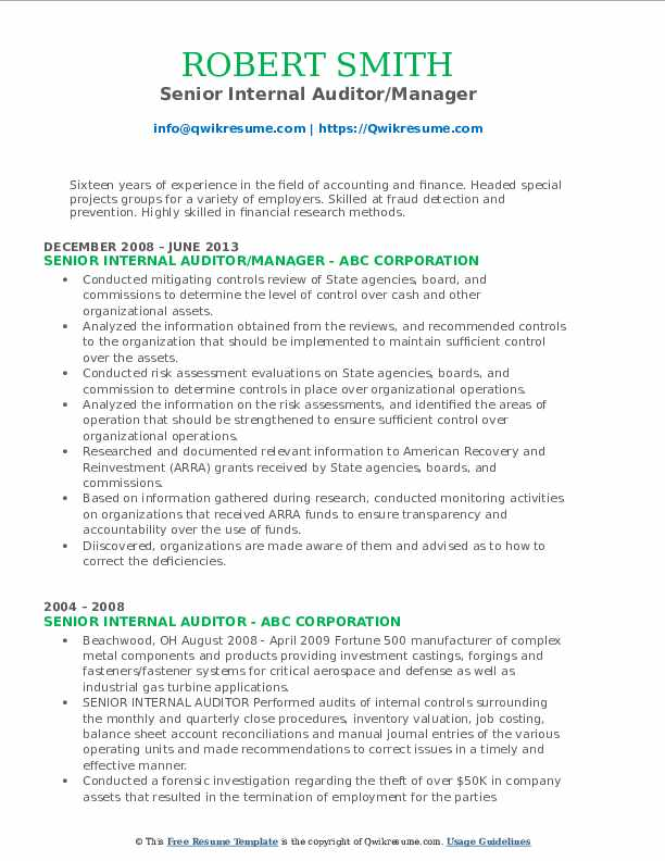 Senior Internal Auditor/Manager Resume Example
