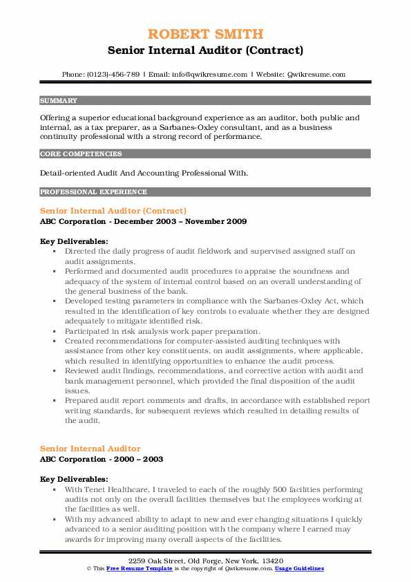 Senior Internal Auditor (Contract) Resume Template
