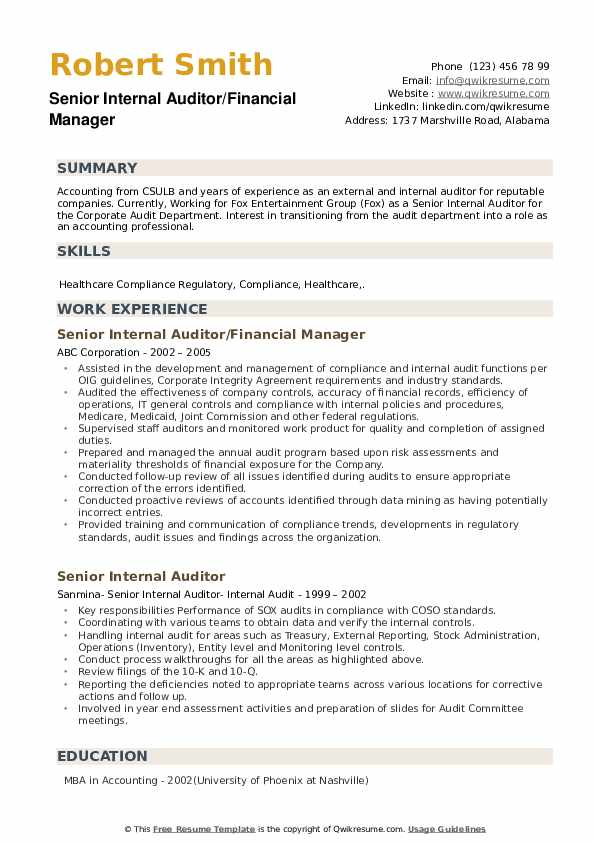 Senior Internal Auditor/Financial Manager Resume Sample