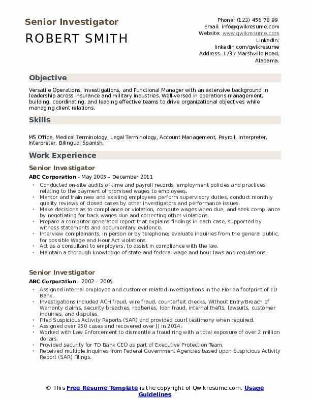 Senior Investigator Resume Model