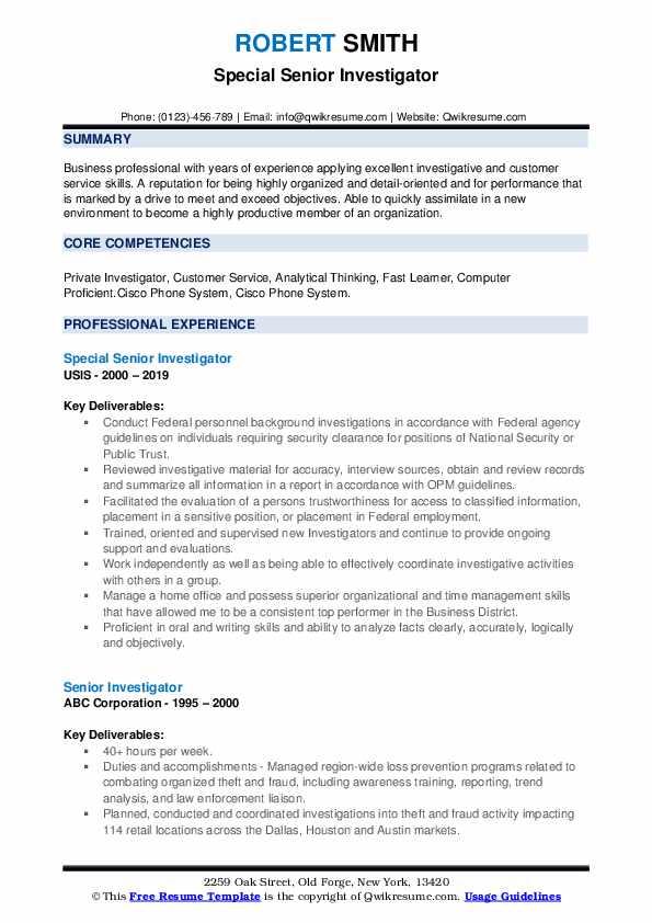 Special Senior Investigator Resume Model
