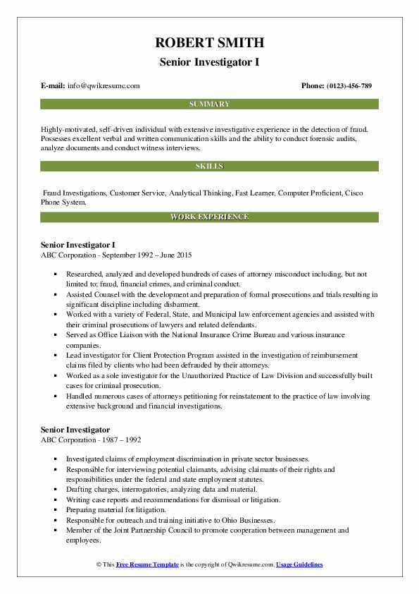 Senior Investigator I Resume Format
