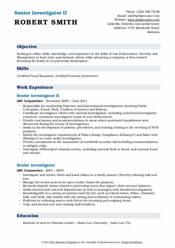 Senior Investigator II Resume Example