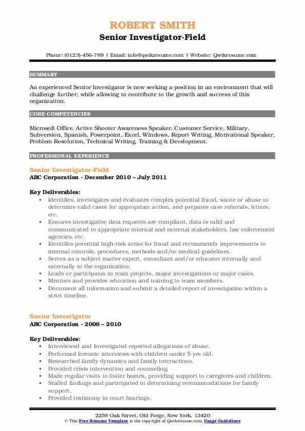 Senior Investigator-Field Resume Example