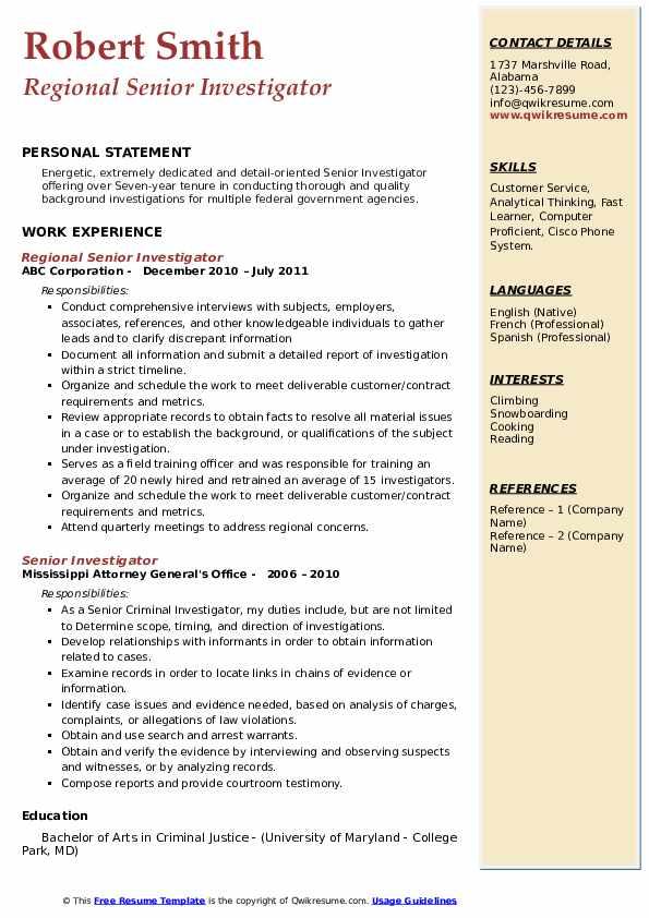 Regional Senior Investigator Resume Format