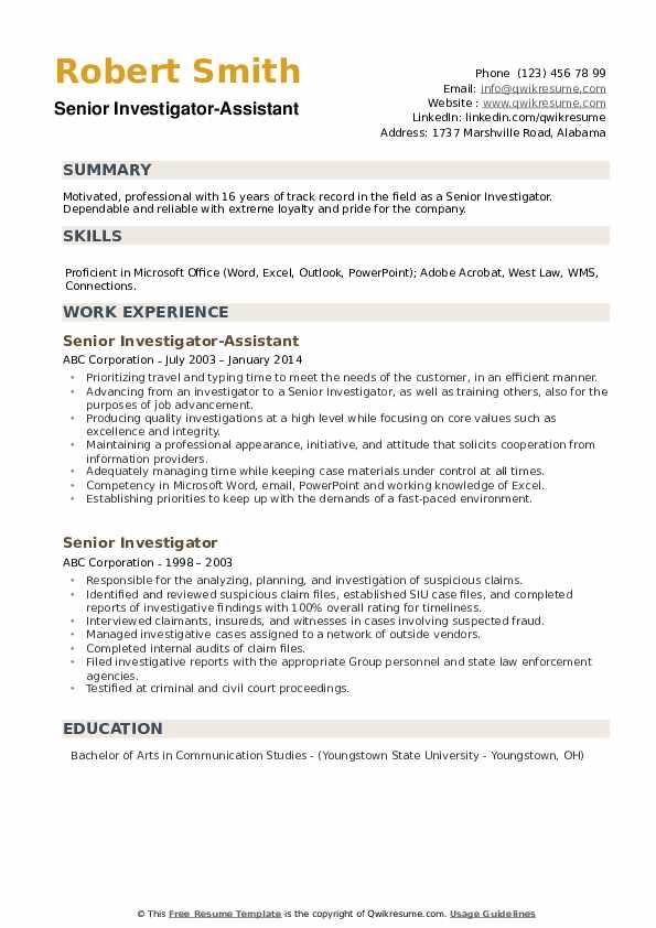 Senior Investigator-Assistant Resume Format