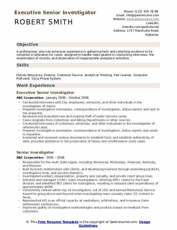 Executive Senior Investigator Resume Example