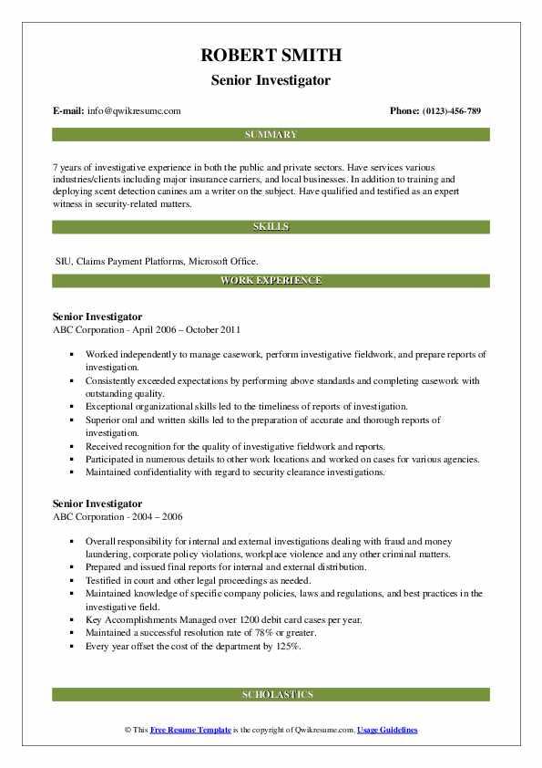 Senior Investigator Resume example
