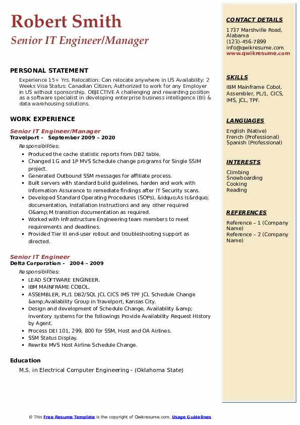 senior it engineer resume samples  qwikresume