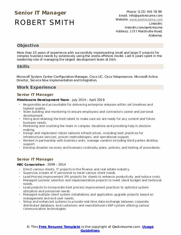 senior it manager resume samples  qwikresume