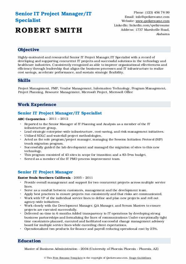 senior it project manager resume samples  qwikresume