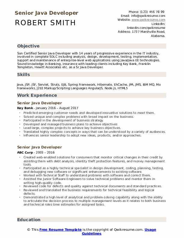 senior java developer resume samples