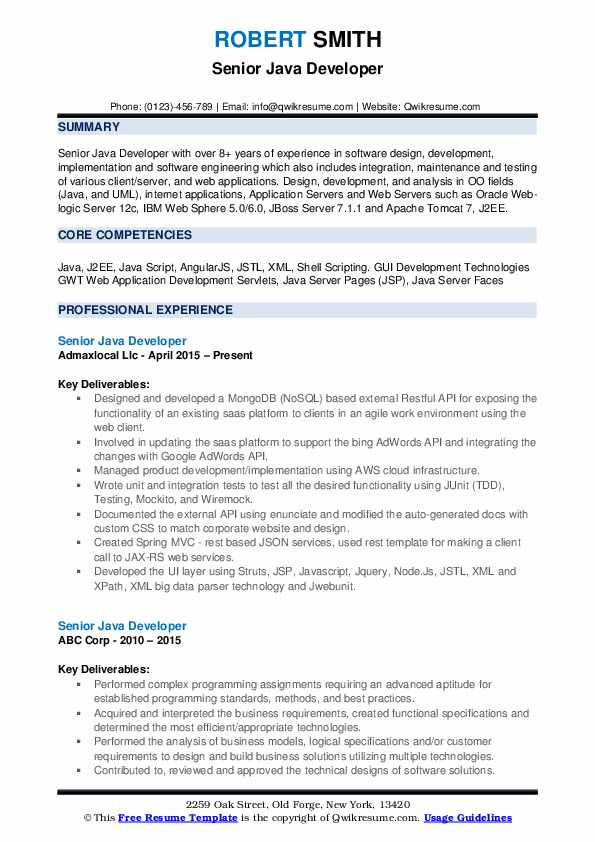 Senior Java Developer Resume Format