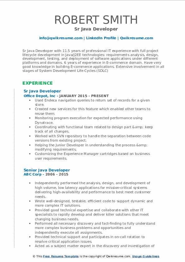 Sr Java Developer Resume Format