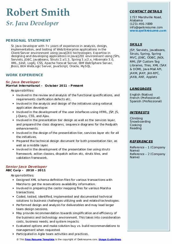 Sr. Java Developer Resume Example