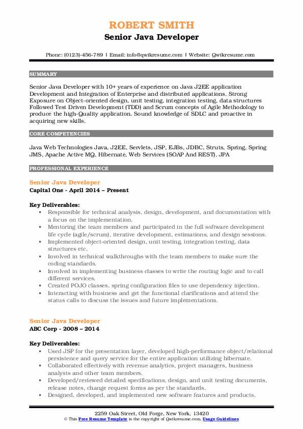 Senior Java Developer Resume Sample