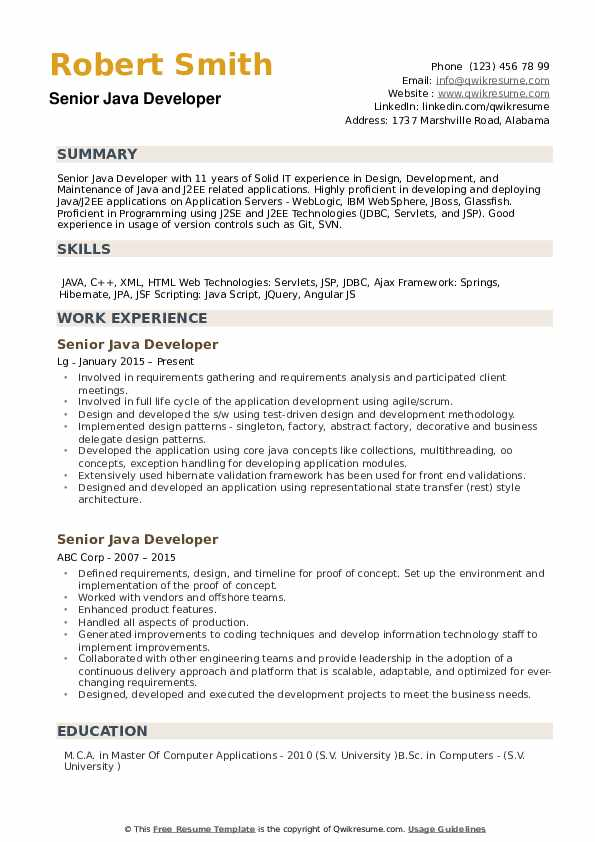 Senior Java Developer Resume Samples | QwikResume