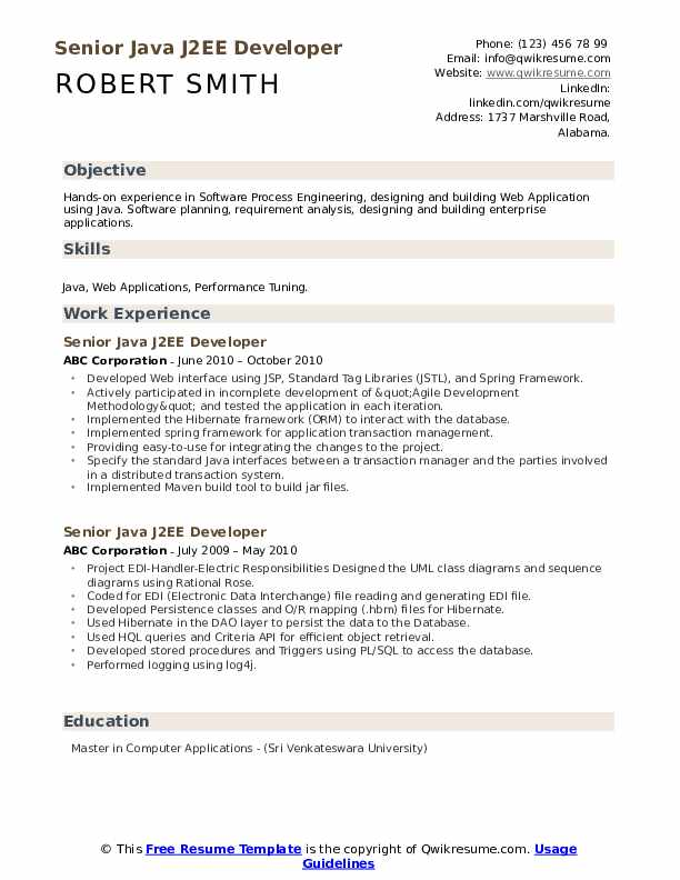 Senior Java J2EE Developer Resume example