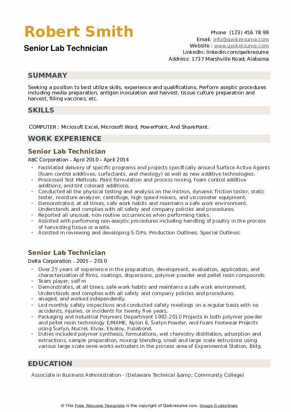 Senior Lab Technician Resume example