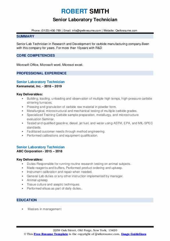 Senior Laboratory Technician Resume example