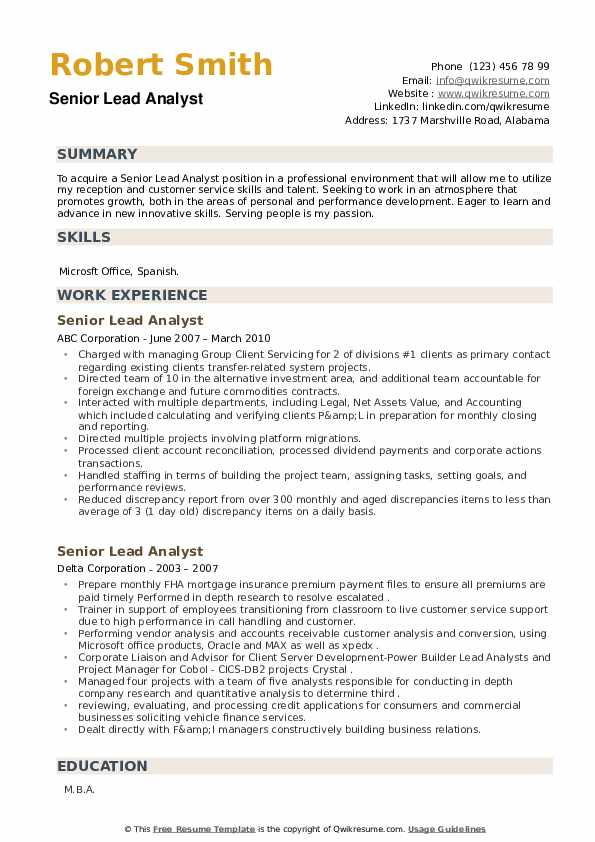 Senior Lead Analyst Resume example
