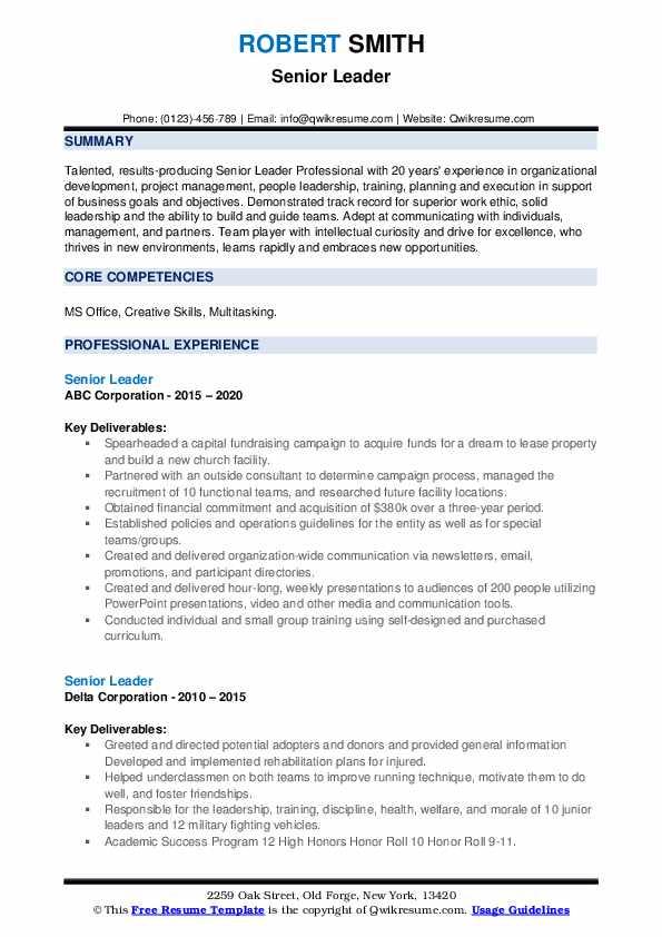 senior leader resume samples  qwikresume