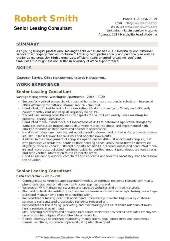 Senior Leasing Consultant Resume example