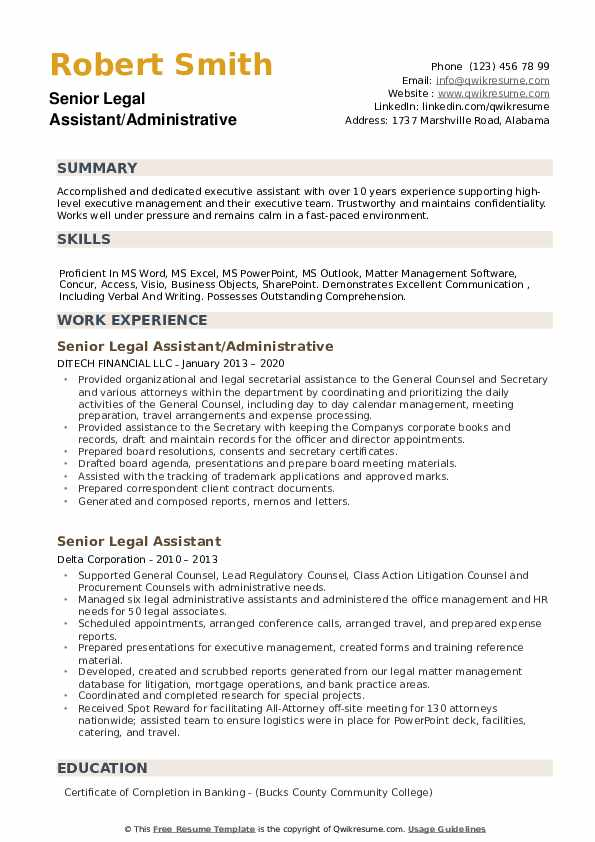Senior Legal Assistant Resume example