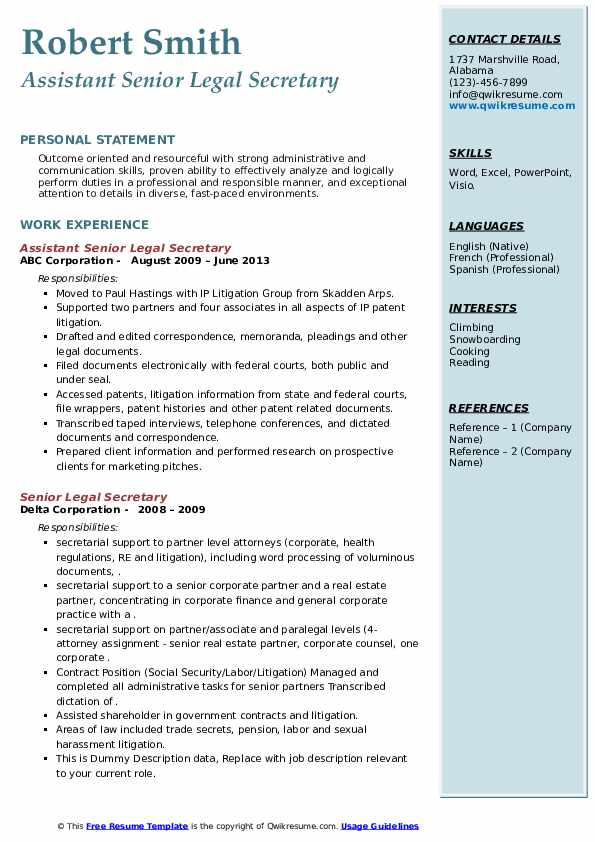 senior legal secretary resume samples