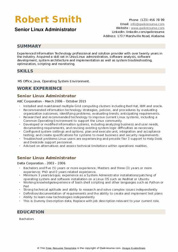 Senior Linux Administrator Resume example