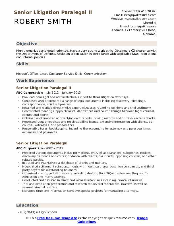 Senior Litigation Paralegal Resume Samples Qwikresume