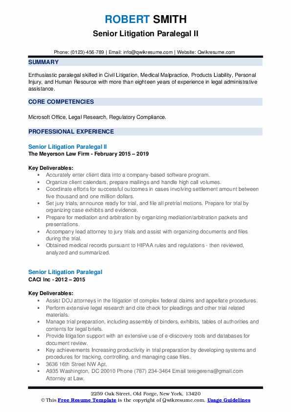 senior litigation paralegal resume samples