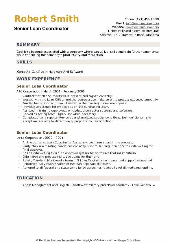 Senior Loan Coordinator Resume example
