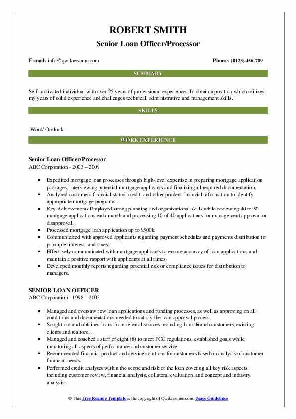 Senior Loan Officer/Processor Resume Format