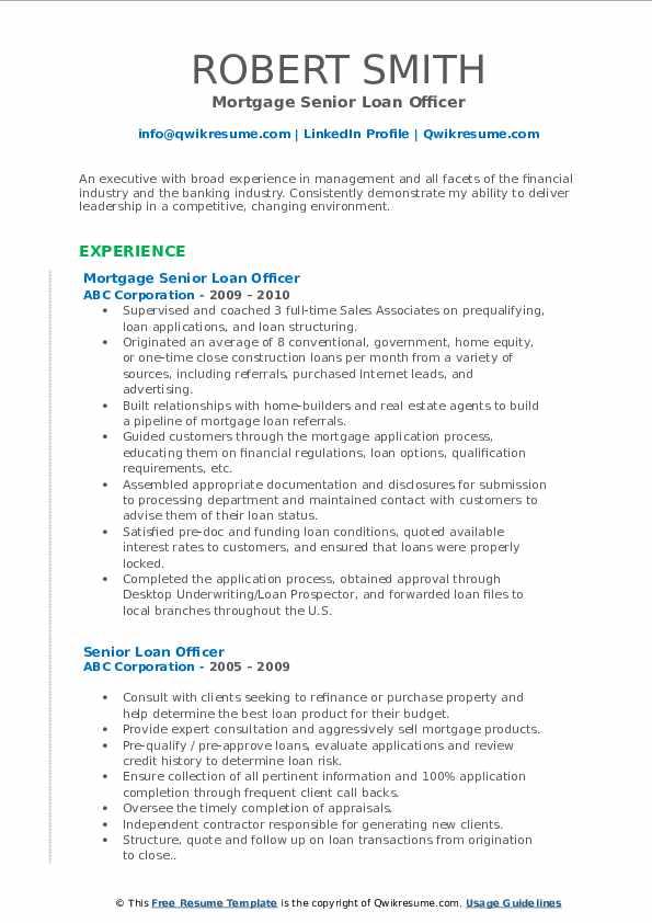 senior loan officer resume samples  qwikresume