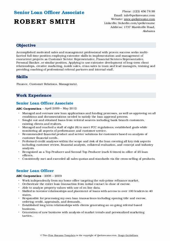 Senior Loan Officer Associate Resume Model