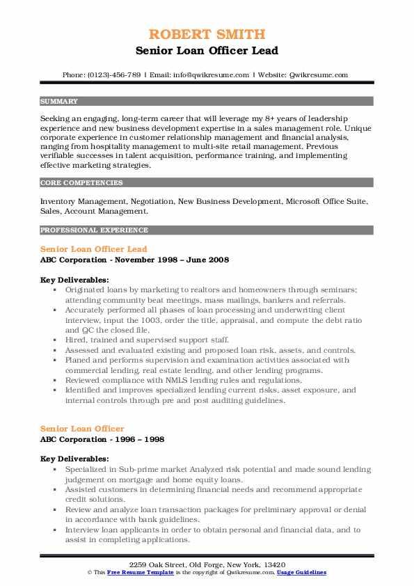 Senior Loan Officer Lead Resume Sample
