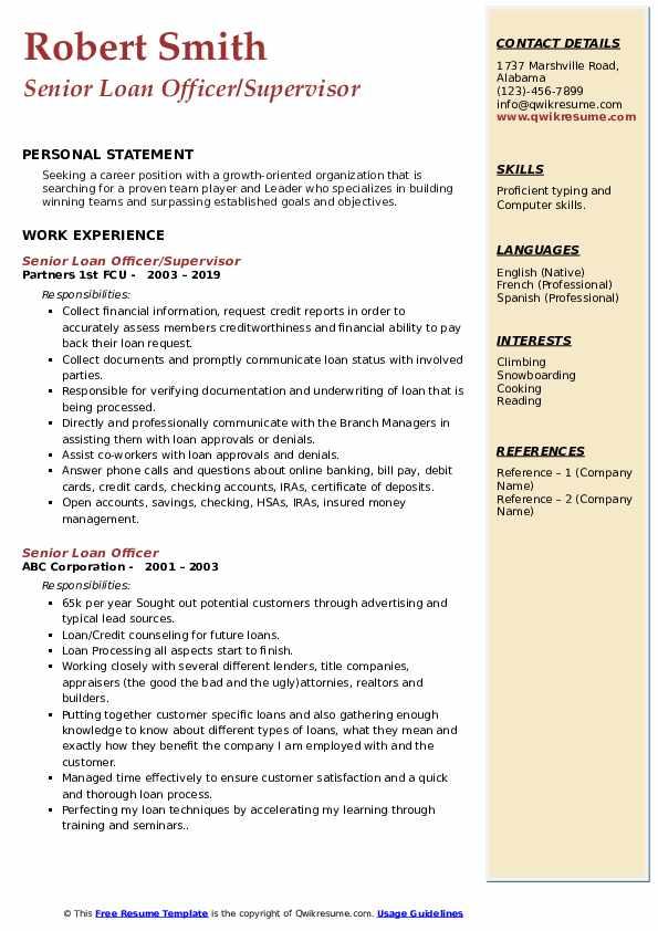 Senior Loan Officer/Supervisor Resume Sample