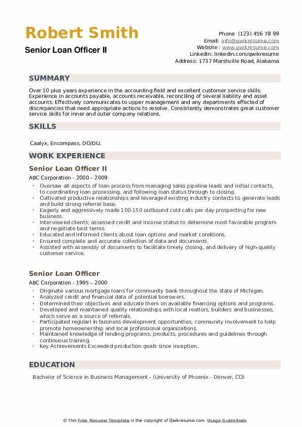 Senior Loan Officer Resume Samples | QwikResume