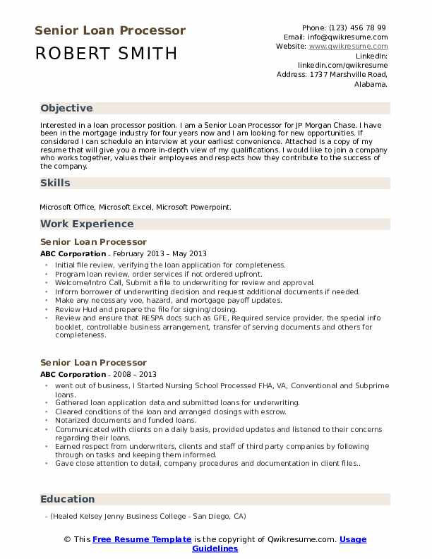 Senior Loan Processor Resume Samples | QwikResume