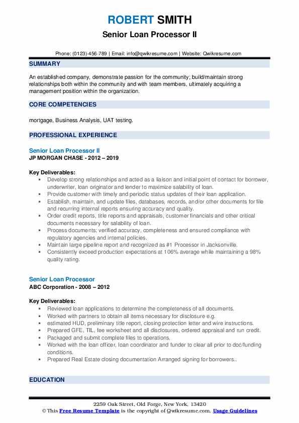 Senior Loan Processor II Resume Model
