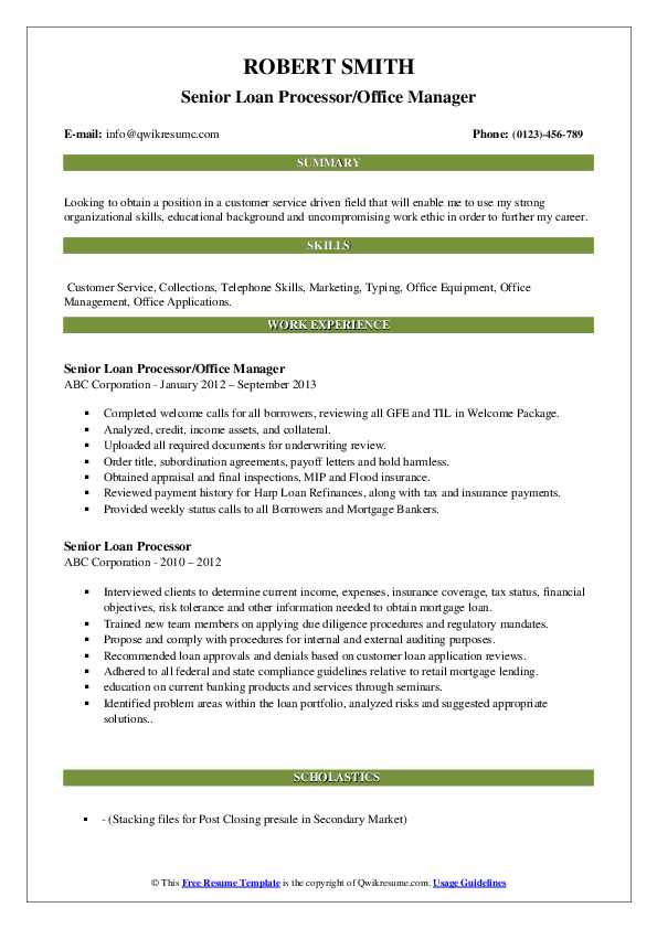 Senior Loan Processor/Office Manager Resume Format