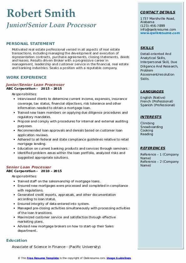 Junior/Senior Loan Processor Resume Template