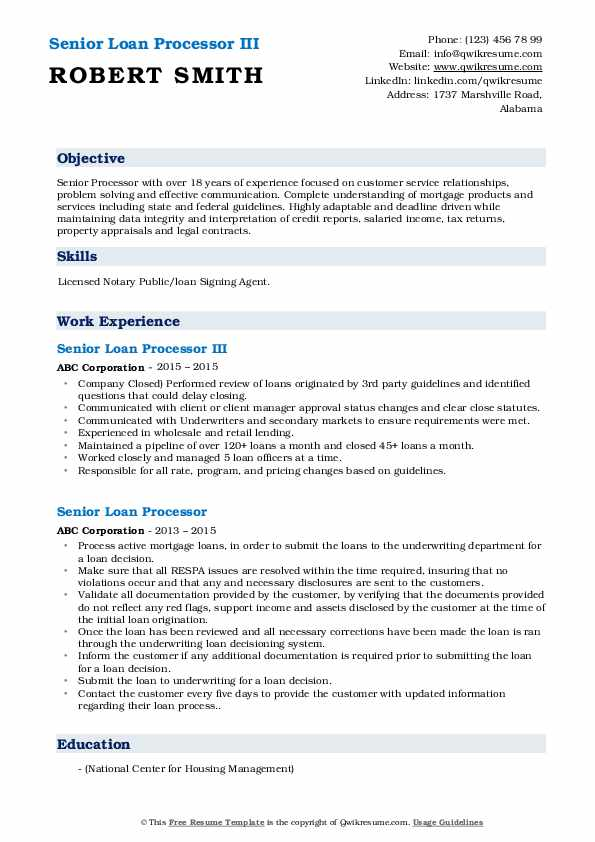 Senior Loan Processor III Resume Model